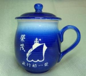 茶杯 U4011BK 雕刻杯雕刻船圖