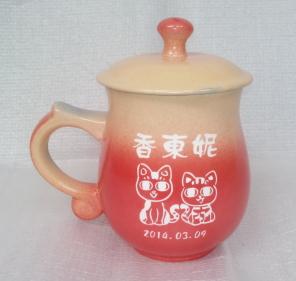 情人節禮物- 茶杯 V7011 鶯歌陶瓷雕刻杯雕刻 貓圖