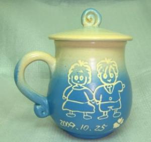 情人節禮物  V7007 手拉坯+畫娃娃圖 鶯歌陶瓷杯 七夕情人節禮物 情人節快樂杯