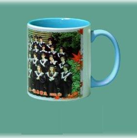 熱轉印馬克杯123 --- 熱轉印水藍色半瓷馬克杯