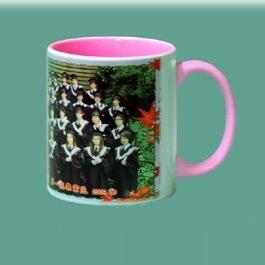 熱轉印馬克杯122 --- 熱轉印粉紅色半瓷馬克杯