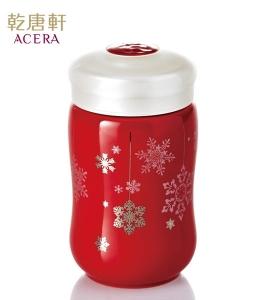 15-D1792-1  快樂雪花隨身杯單層 中國紅+貼花 320ml