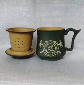 泡茶杯-雙層天燈杯-DK802 綠色 3件式雕刻  約300cc