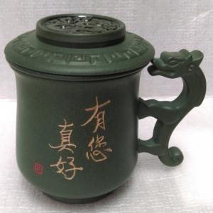 茶杯- 鶯歌茶杯,鶯歌陶瓷茶杯-D712 綠色龍杯手寫字泡茶杯組