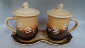 鶯歌陶瓷對杯-對杯組-TF605 快樂對杯組+大盤