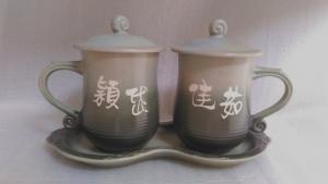 結婚禮物-J6650 ,結婚紀念,陶瓷對杯組+大盤子