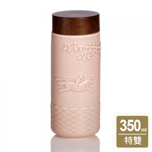 乾唐軒 15-D2492-2 馬上封侯隨身杯 玫瑰粉 / 大 / 單層 / 木紋蓋