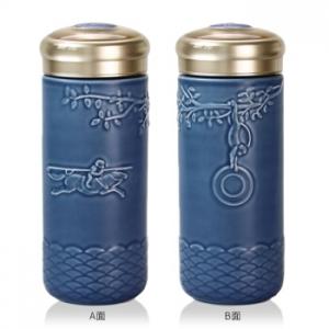 乾唐軒 15-D2492-1 馬上封侯隨身杯 無光藍 / 大 / 單層 / 木紋蓋