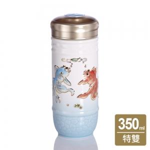 乾唐軒活瓷 15-D3801 歡樂有餘隨身杯 / 大 / 單層 / 淺水藍彩金