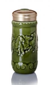 15-D2293 八駿齊發隨身杯( 綠釉 / 雙層 250ml )