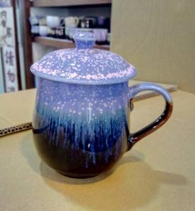茶杯 FK901 窯變 雪晶杯 紫色+ 雕刻 350cc