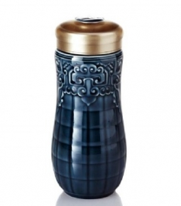 15-D2298 富貴隨身杯 ( 大 / 雙層 / 礦藍釉 )  250ml