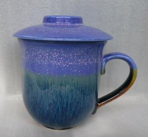 茶杯 FK903 窯變 雪晶杯 紫色+ 雕刻 350cc