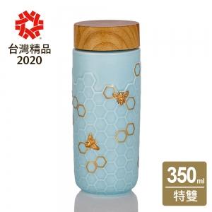 15-D3601-1 隨身杯 大豐收 水藍金 / 仿木紋蓋 350cc