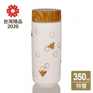15-D3601-2 隨身杯 大豐收 白 / 仿木紋蓋 350cc