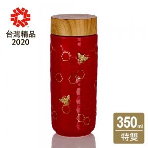 15-D3601-3 隨身杯 大豐收 中國紅 / 仿木紋蓋 350cc