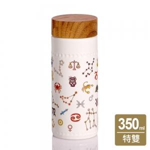 15-D2801 乾唐軒活瓷 12星座隨身杯/大/ 木紋蓋 350cc