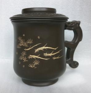 鶯歌茶杯-客製化茶-DK901 龍杯+畫魚圖3件式 龍杯黑色,寫字泡茶杯組