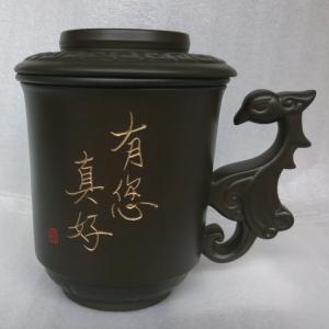 鶯歌泡茶杯-鶯歌陶瓷茶杯 D714 黑色鳳杯,寫名字泡茶杯組