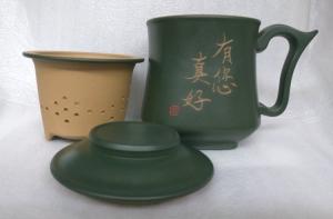 泡茶杯-DK804 天燈杯 綠色 約300cc 3件式雕刻 3件天燈杯