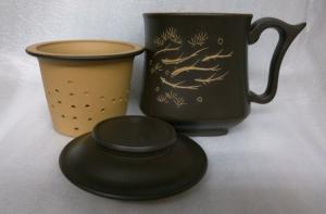 泡茶杯--DK902 黑色 約300cc 3件式雕刻 3件天燈杯