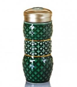 15-D3201-1 亮石 隨身杯( 雙層 / 鎏金+綠釉 / 250ml )