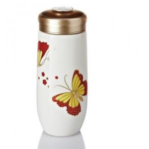 15-D3204 紅蝴蝶 隨身杯(金/ 雙層 / 250ml )