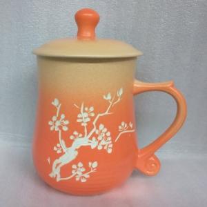 杯子王 陶杯 手畫圖 R0005 ( 手雕梅花圖 )