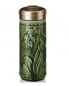 隨身杯 15-D2496 蝴蝶蘭花  250cc 綠釉