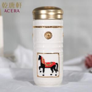 15-D4202-2 皇家駿馬 隨身杯 雙層 鎏金+白釉 250ml