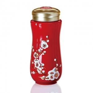 15-D4200 紅梅報春 隨身杯 雙層 / 鎏金彩繪 250ml