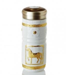 15-D4202 皇家駿馬 隨身杯 雙層  鎏金+白釉 250ml