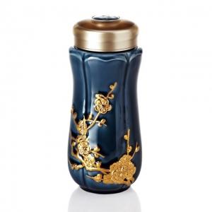15-D4800 紅梅報春隨身杯大/雙層/鎏金礦藍釉/250ml