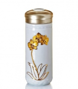 15-D4801 蝴蝶蘭花 隨身杯 雙層  鎏金+雪花白 250ml