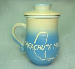 鶯歌陶瓷杯-三件式手拉泡茶杯-H305 背面,畫台灣 全滿約380cc