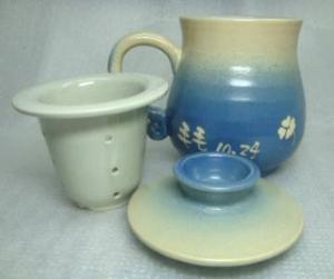 H307  藍色 三件杯 (加濾網)
