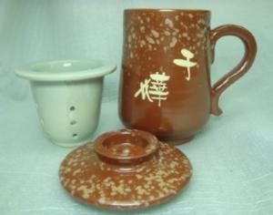 H308 < 手拉坏 泡茶杯 組 紅豆色>