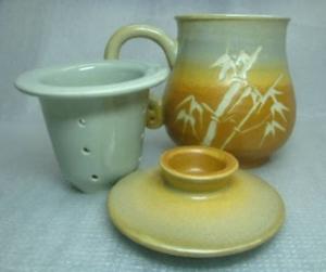 H310 灰棕色 三件杯手拉 泡茶杯 (加濾網)