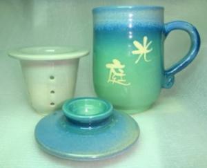 H311 亮藍綠色 三件手拉杯 (加濾網)