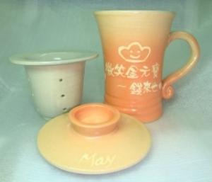 鶯歌陶瓷杯-三件式手拉泡茶杯-H312 手拉坏泡茶杯
