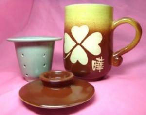 H315 梨咖色 三件式 手拉泡茶杯