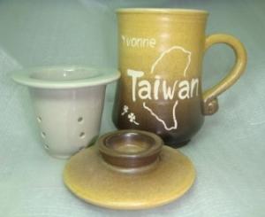 HK310  三件式手拉泡茶杯+雕刻台灣