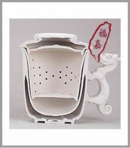 泡茶杯子-泡茶杯-D02 龍鳳杯雙層設計,剖面圖