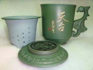 茶杯- 鶯歌茶杯,鶯歌陶瓷茶杯-D704  綠色鳳杯,寫名字泡茶杯