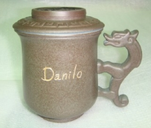泡茶杯子-鶯歌陶瓷泡茶杯子-D718 龍杯咖啡色