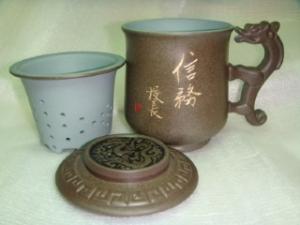 泡茶杯子-鶯歌陶瓷泡茶杯子-D717 龍杯咖啡色,手寫名字