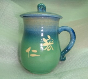HA2009 手拉杯鶯歌陶瓷杯 藍綠色