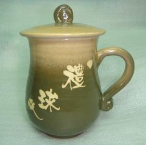HA2012 手拉坏鶯歌陶瓷杯 梨橄藍色