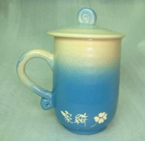 HB2002 手拉坏鶯歌陶瓷杯 茶杯  藍色杯