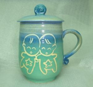 HB2009  手拉坏鶯歌陶瓷杯 茶杯 亮藍綠色